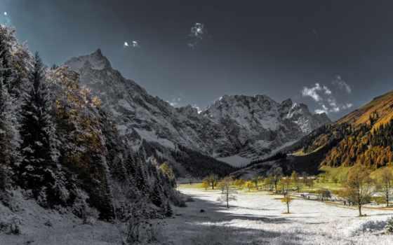 снег, небо, trees, картинка, осень, house, clouds, дерево, winter,