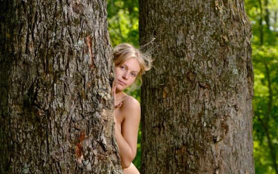 дерево, взгляд, summer, завитки, blonde, зелёный, боке, задумчивость,