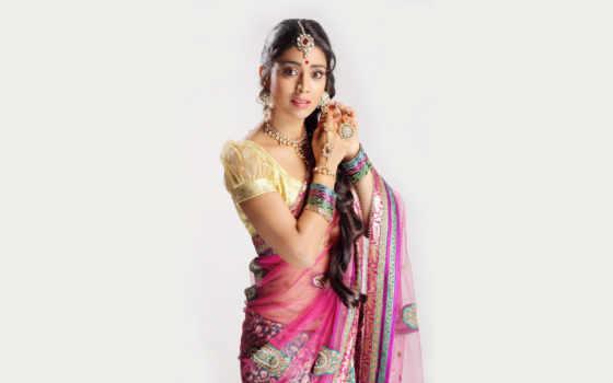 девушка, indian, масть, national, индийская, сари, часть, метки,