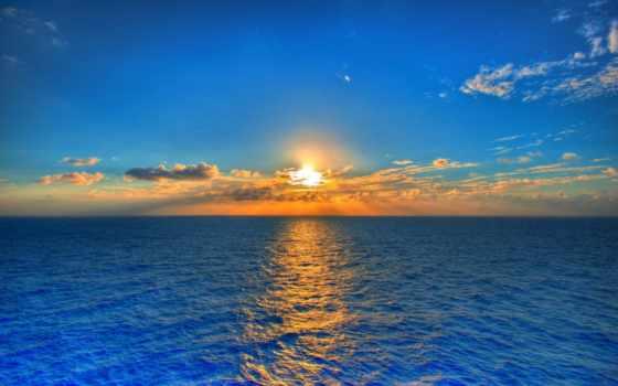 море, закат, sun, небо, солнца, природа, ocean, water, oblaka,