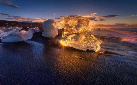 tapety, пляж, ocean, pulpit, рассвет, свет, лед, morze, nga, desktop,