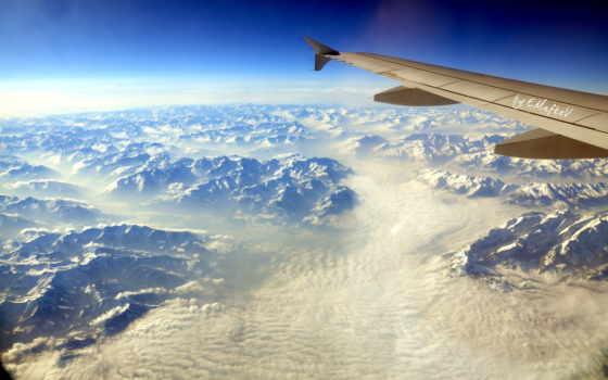 за, облаками, природа, монитора, самолеты, share, назад,