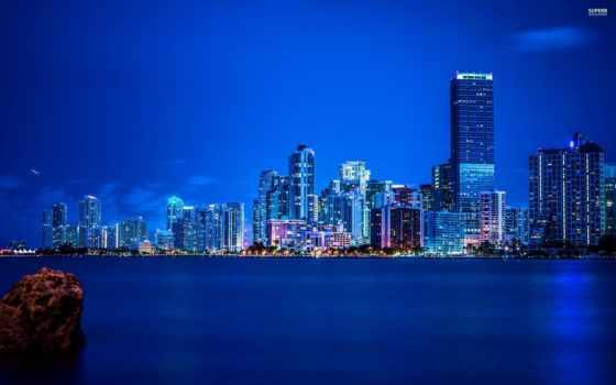miami, skyline, ночь,