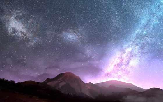 hatsuyume, небо, горы, anime,