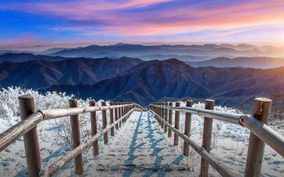 снег, гора, cover, winter, deogyusan, восход, korea, south, staircase