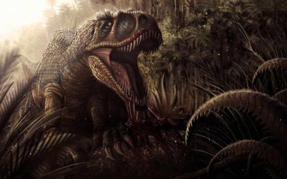 динозавр, клыки, пасть,