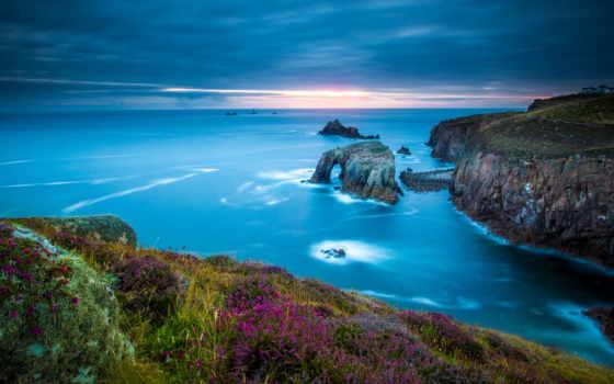 море, celtic, cornwall, англия, конец,