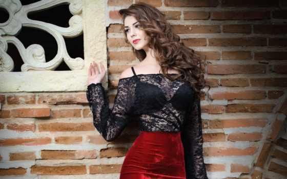 falda, mujer, blusa, negra, roja, joven, morena, encantadora, del,
