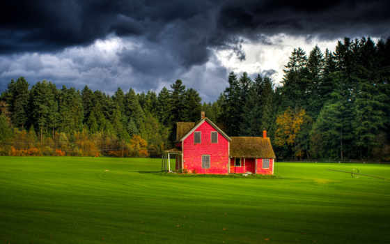 поле, house, небо, британская, канадский, langley, форт, лес, тучи, colombia, ферма,