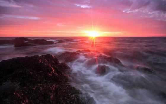 oblaka, sun, море, утро, rays, небо, берег, fone, моря, солнца, небе,