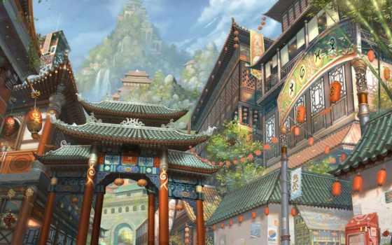 art, fantasy, город, asian, anime, китаянка, азия,