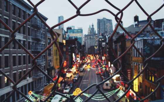 сша, улица, город, нью, забор, york, new, house, signboard, заставка