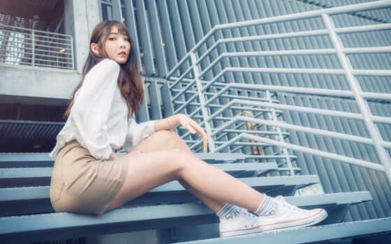 женщина, модель, asian, sit, stair, lady, leg, волосы, long, brunette