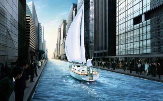 яхта, яхте, city, канал, здания, улице, городе,