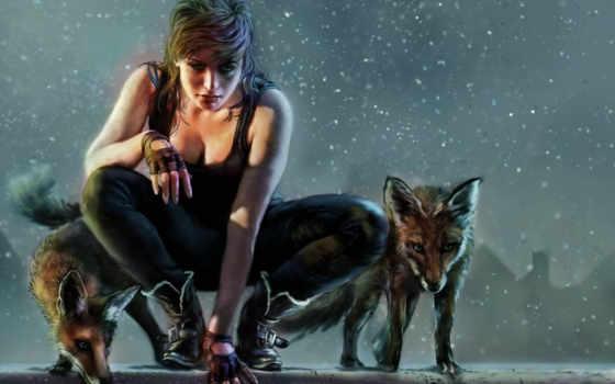девушка, hunter, art, девушки, лисы,