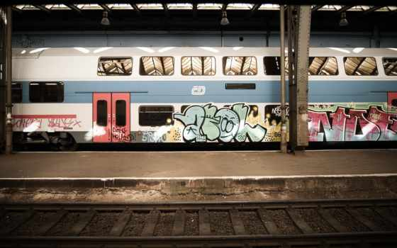 metro, поезд, загрузил, мэри, город, графика, graffiti,