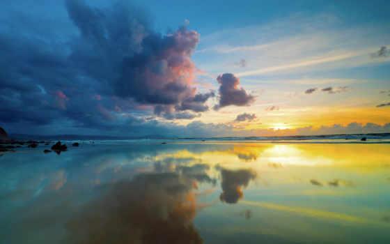 небо, море, sun