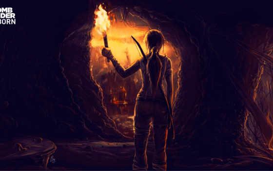 tomb, raider, лара, крофт, игры, пещера, взлёт, капюшон, факел, devushki, картинка,