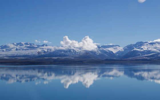 гора, небо, облако, water, озеро
