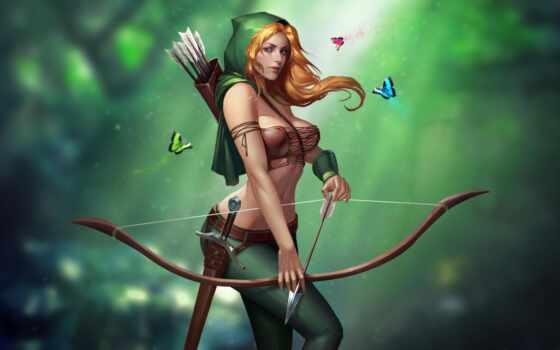 девушка, art, бант, fantasy, стрелок, смотреть, красавица, арка, грудь, взгляд