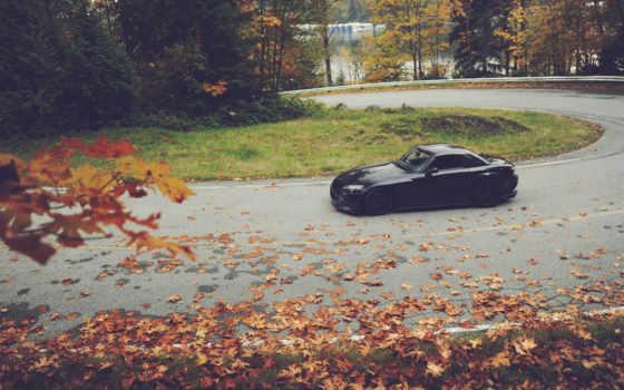 honda, чёрная, black, осень, листья, машины, обои,