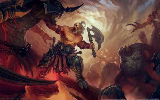 diablo, игры, games, game, компьютерные, видео, топор, воин, iii, клешни, берсерк, монстры,