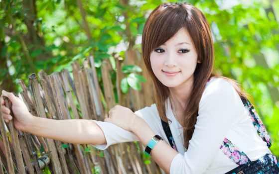 девушка, азиатка, улыбка