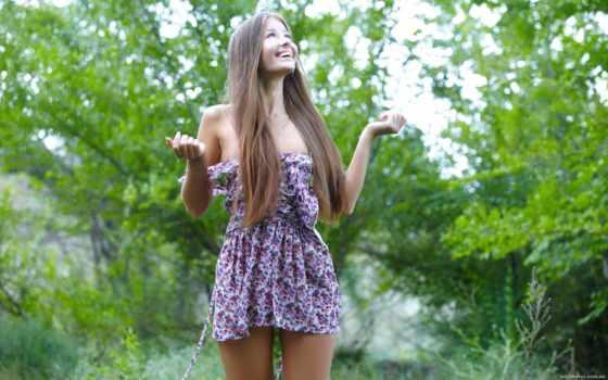 платье, девушка, браун