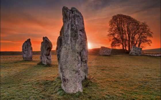 закат, avebury, pole, wiltshire, landscape,