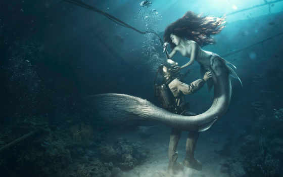 bottom, морское, русалка, водолаз, fantasy, tail, рендер,