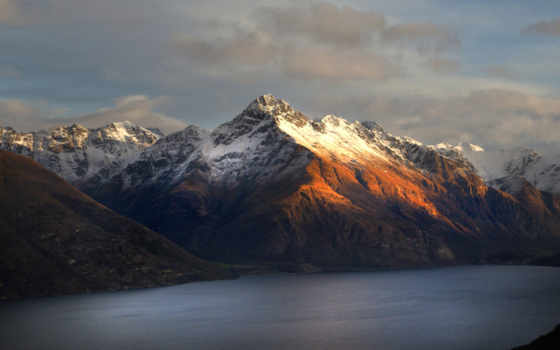 новая, zealand, new, горы, новой, зеландии, walter, peak, озеро,