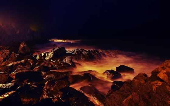 камни, лава, горы, горные, есть, ощущение, отличное, светящиеся, вулканы, банка,