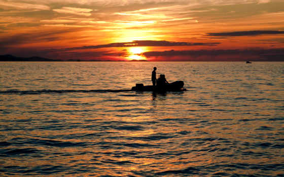 небо, лодка, рыбаки, закат, рассвет, water, море, ocean, берег, горизонт, силуэты,