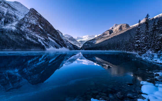 озеро, louise, альберта, канадский, горы, природа, landscape, канада,