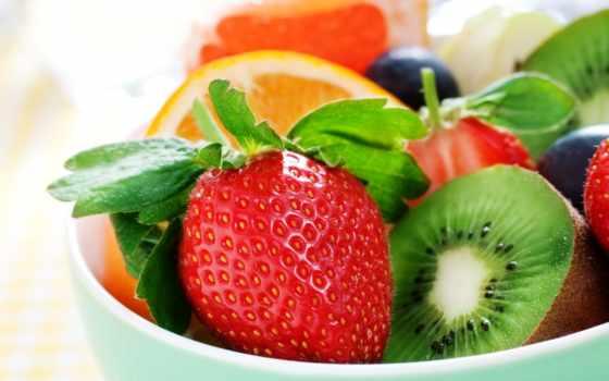фрукты, ягоды, клубника, киви, оранжевый, салат,