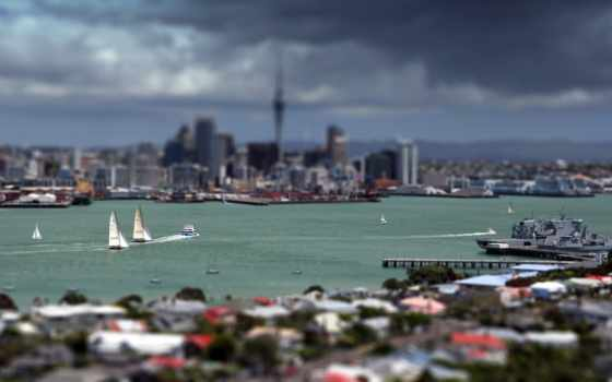 город, auckland, martha, яхты, панорама,
