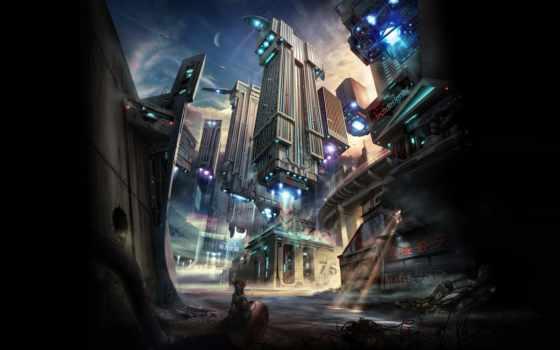 город, будущего, корабли, будущее, фантастика, крыса, космические, свет, ray, здания,