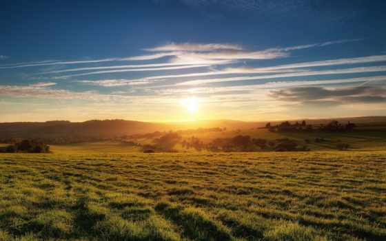 поле, закат, раздолье, природа, степи, раздолье, небо, landscape, дек,