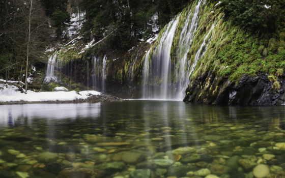agua, картинка, маслом, naturaleza, mossbrae, falls, магазин, интерьера, природа,