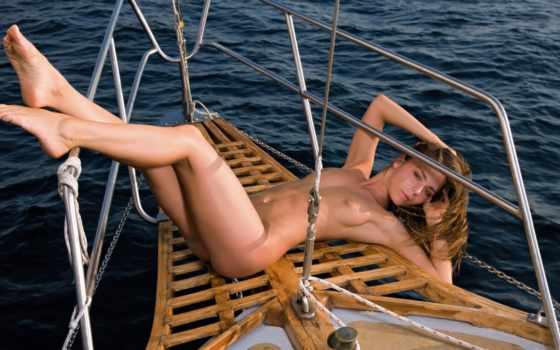 , голая, девушка, яхта, море
