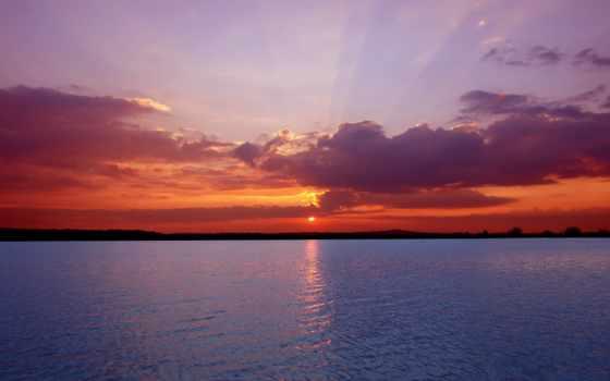 закат, природа, пейзажи -, море, ocean, похожие, water, пляжи, побережье, облаках, спокойное,