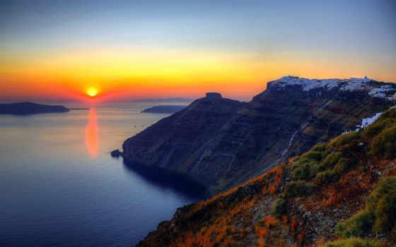 santorini, greece, закат, landscape, природа, греции, море, eiland, country,