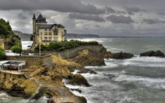 море, biarritz, aquitaine, побережье, франция, fond, houses