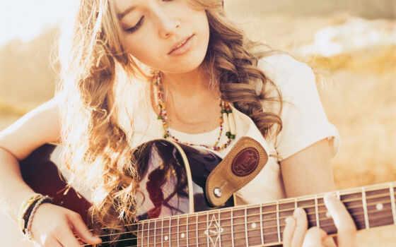 девушка, гитара, музыка