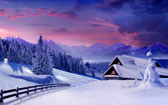 winter, природа, лес, изьба, снег, горы, елки, красивые,