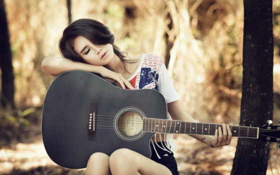девушка, гитарой, сидит, музыка, гитара, разрешениях, fone, разных,