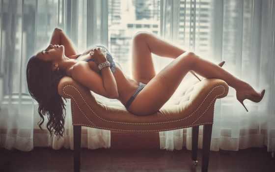, девушка, кресло, большая грудь, красивое белье,