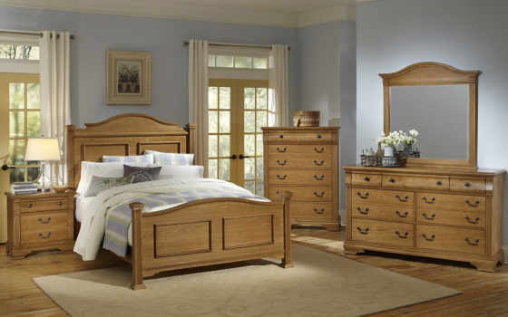 furniture, bassett, vaughan, cameron, bedroom, panel, arched, bed, metal, dekor, with, finish, oak, collection,