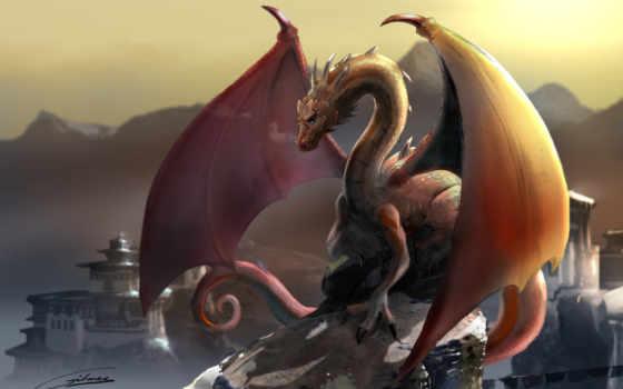 дракон, горы Фон № 23160 разрешение 2560x1600