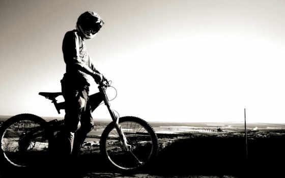 велосипед, свой, совершенно, горизонт, небо, велосипедист, спорт,